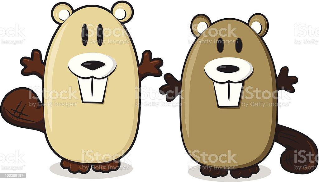 Happy Cartoon Beavers royalty-free stock vector art