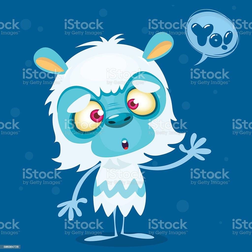 Happy cartoon bigfoot with speech bubble. Halloween vector yeti character vector art illustration