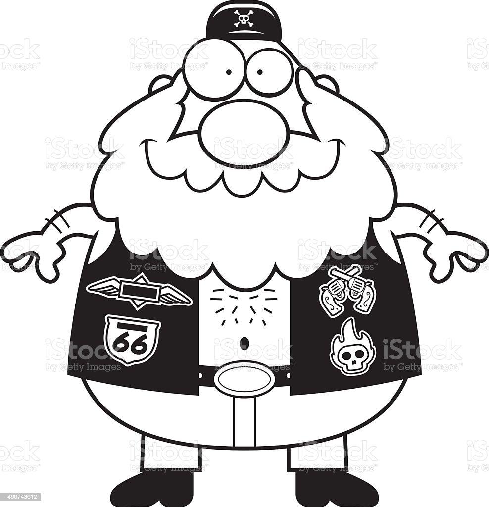 Happy Cartoon Biker vector art illustration