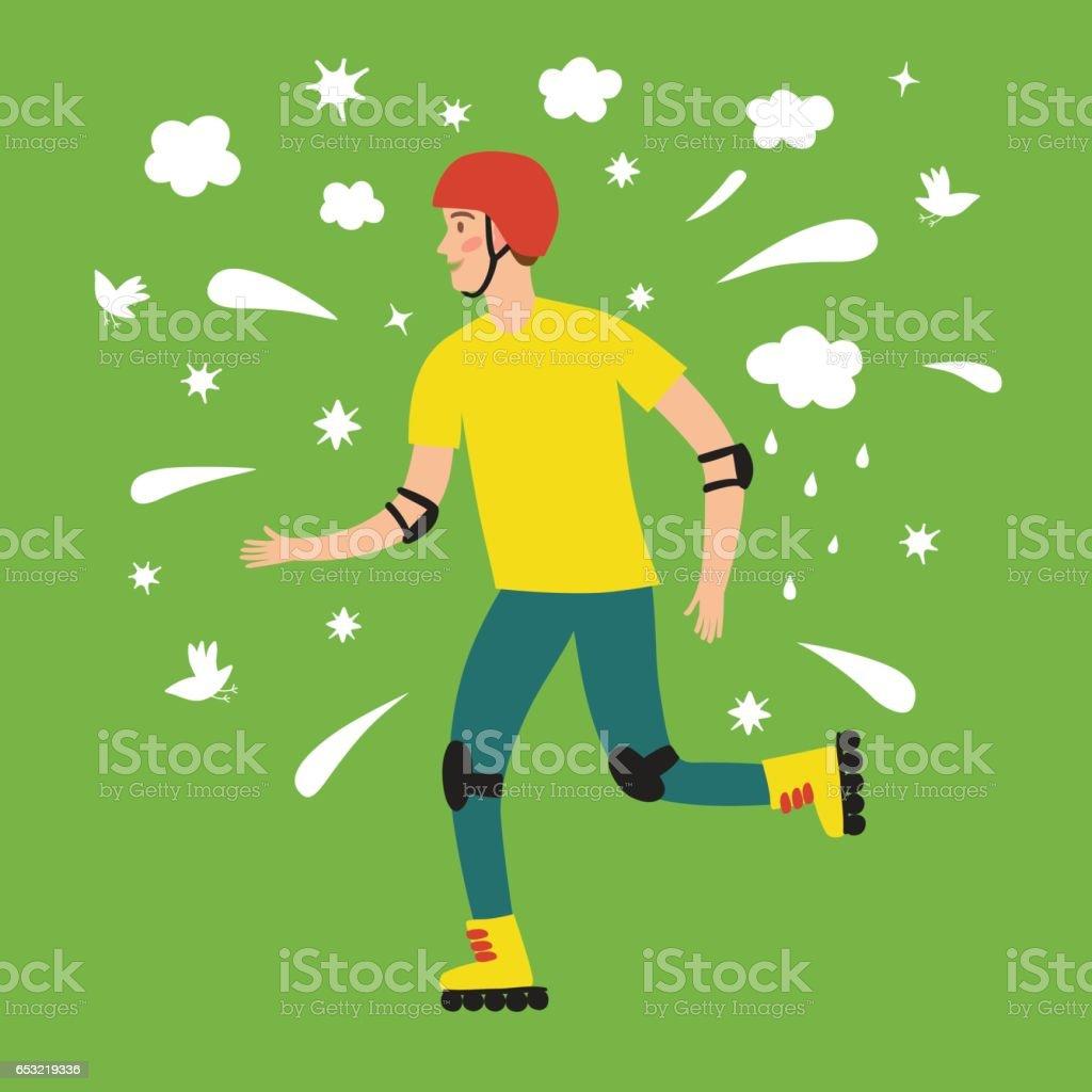 Happy cartoon boy skater vector art illustration