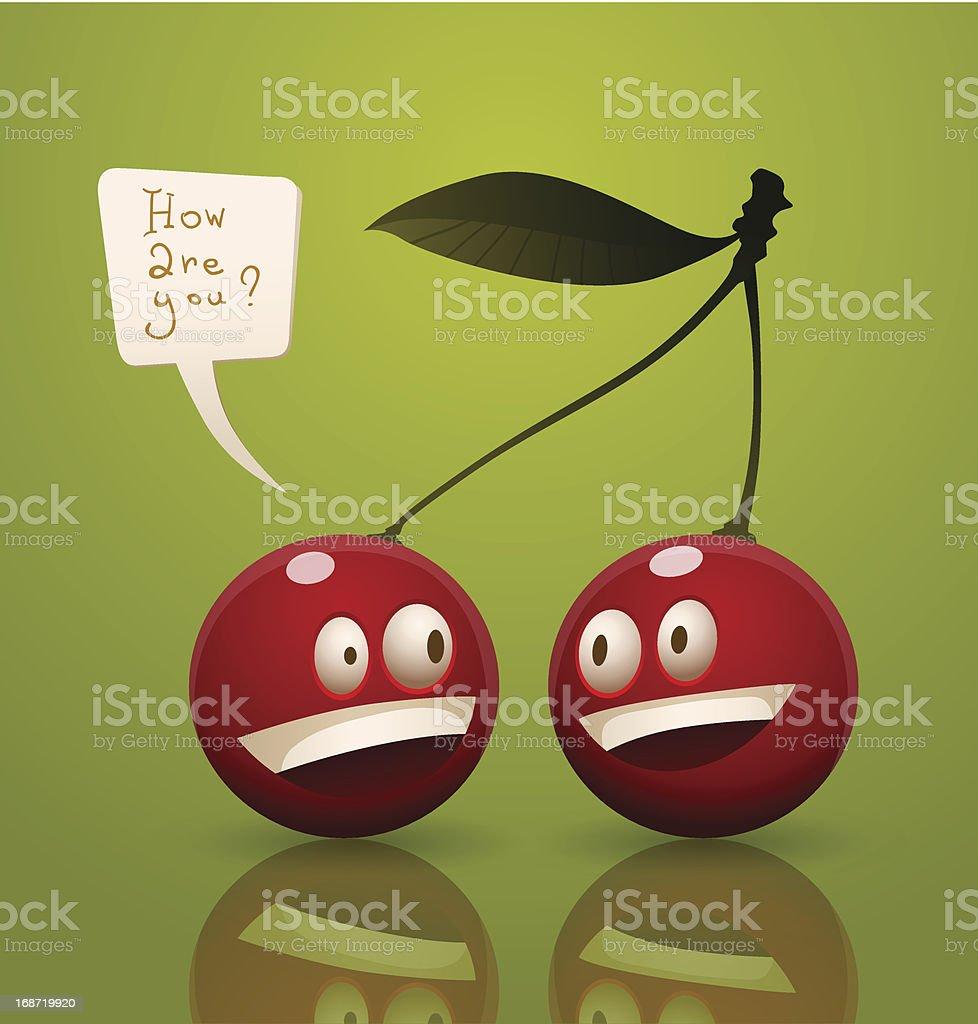 Happy cartoon cherry royalty-free stock vector art