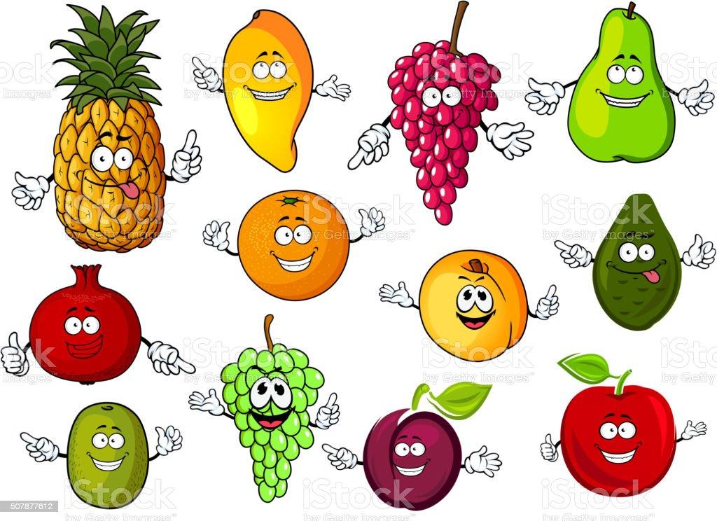 Happy cartoon fresh tropical fruits vector art illustration