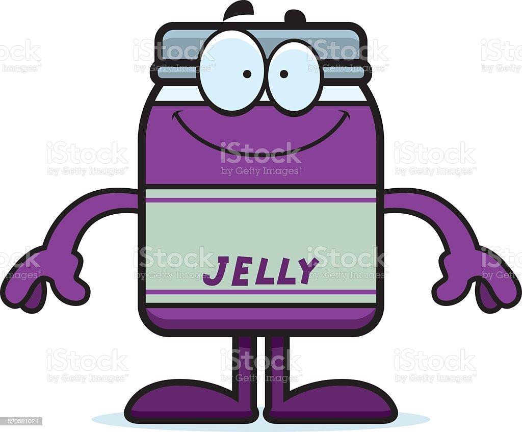 Happy Cartoon Jelly Jar vector art illustration