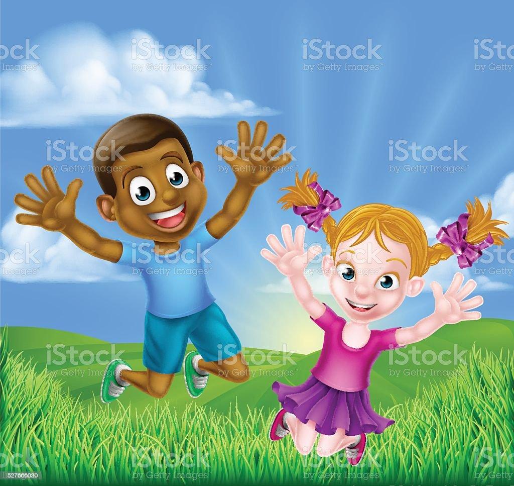 Happy Cartoon Kids Jumping vector art illustration