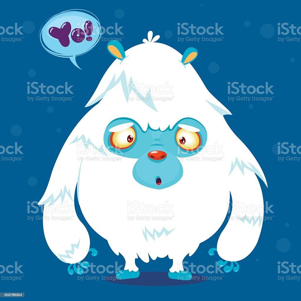 Happy cartoon monster Bigfoot vector art illustration