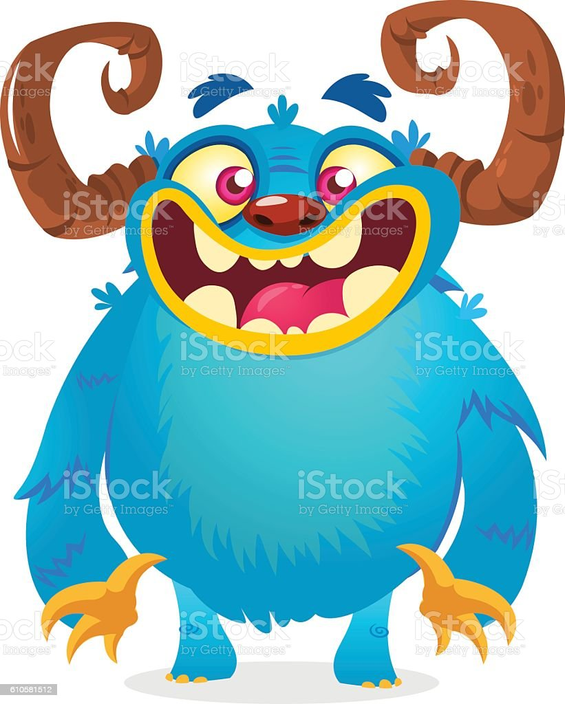 Happy cartoon monster. Vector character for Halloween vector art illustration