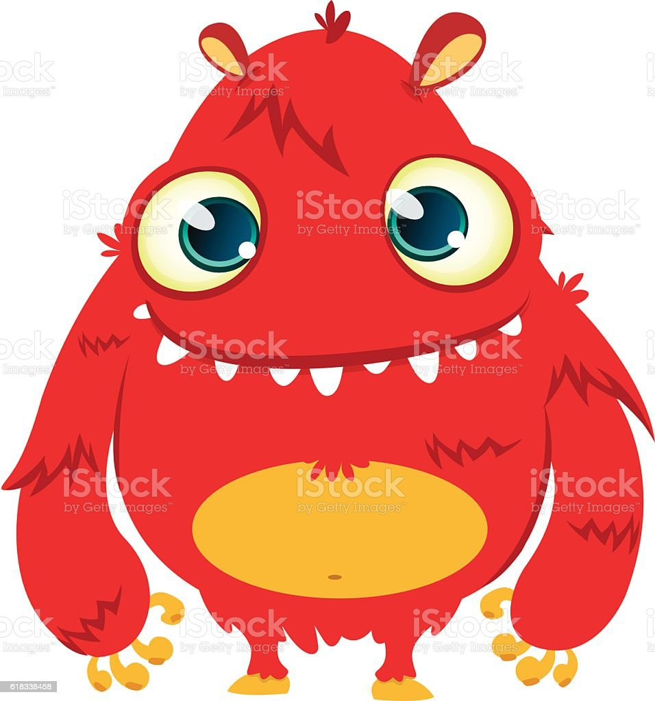 Happy cartoon monster. Vector Halloween red furry monster vector art illustration