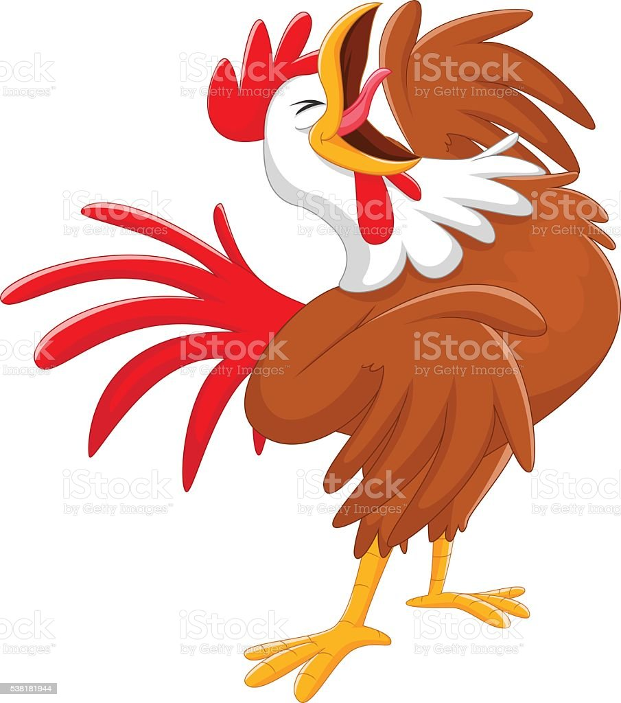 Happy cartoon rooster crowing vector art illustration