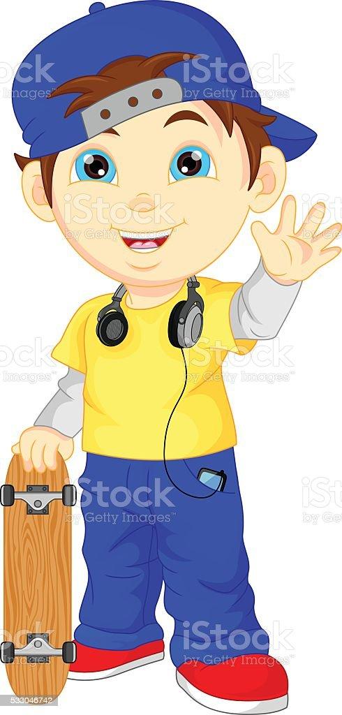 Happy Cartoon Skateboard Boy waving vector art illustration