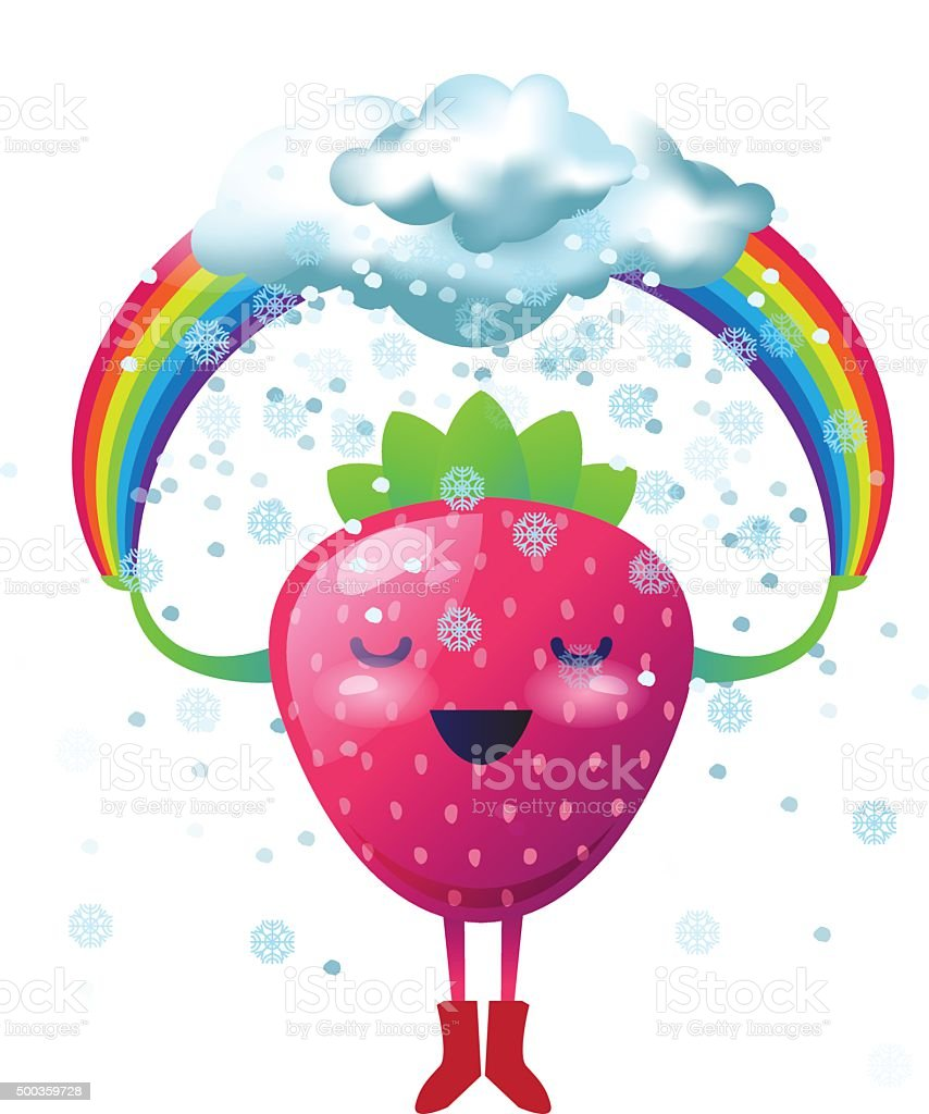 Happy cartoon strawberry holding a rainbow with a snow clouds vector art illustration