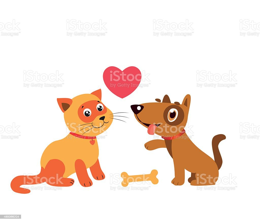 Happy cat and dog friendship. Cartoon illustration of best friends.