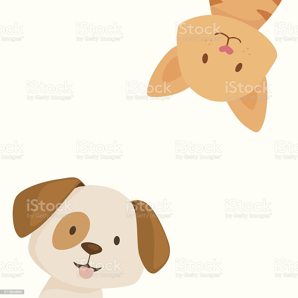 Happy cat and dog vector art illustration