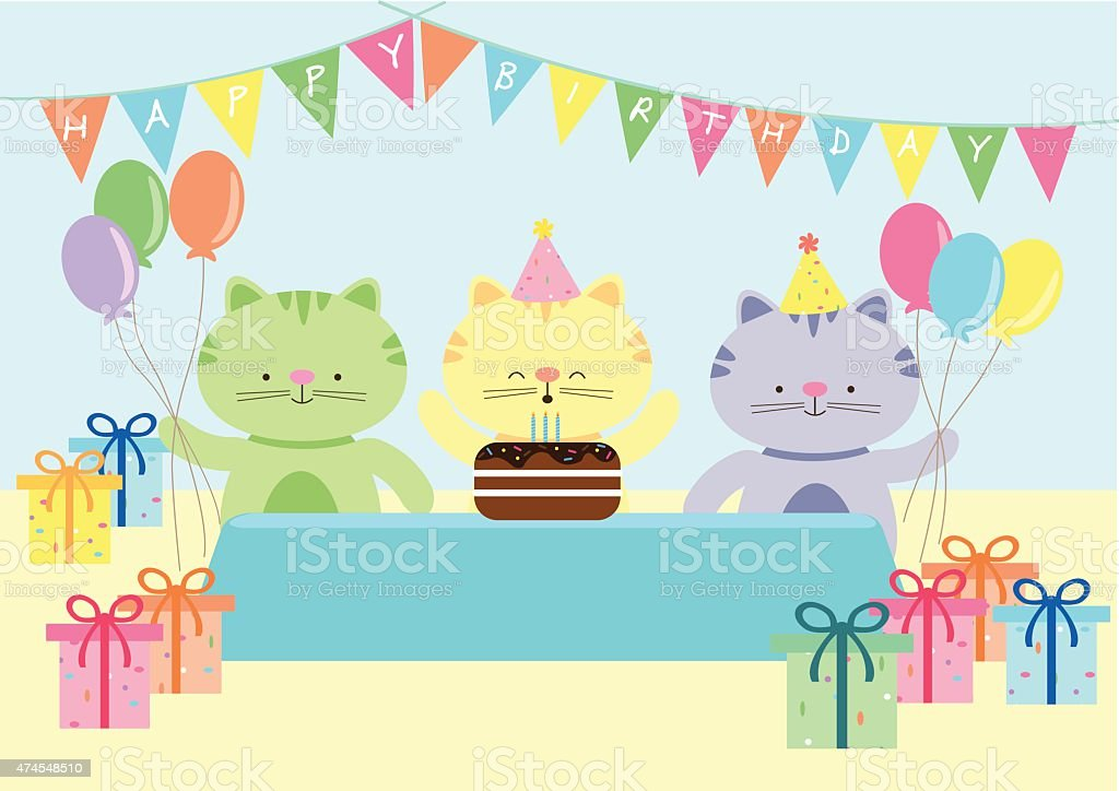 Happy Cat Birthday Party vector art illustration