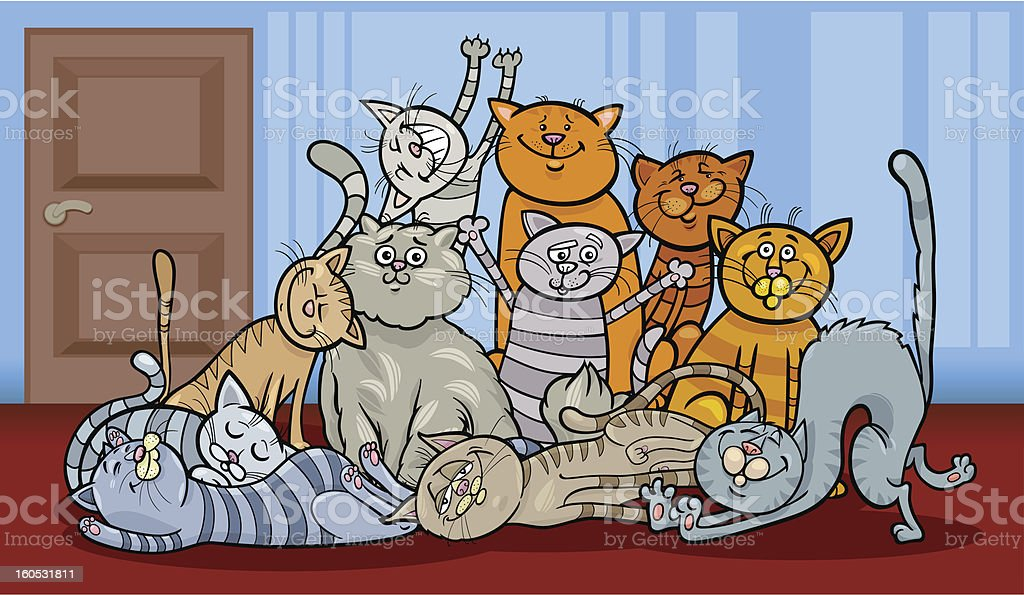 happy cats group cartoon illustration royalty-free stock vector art
