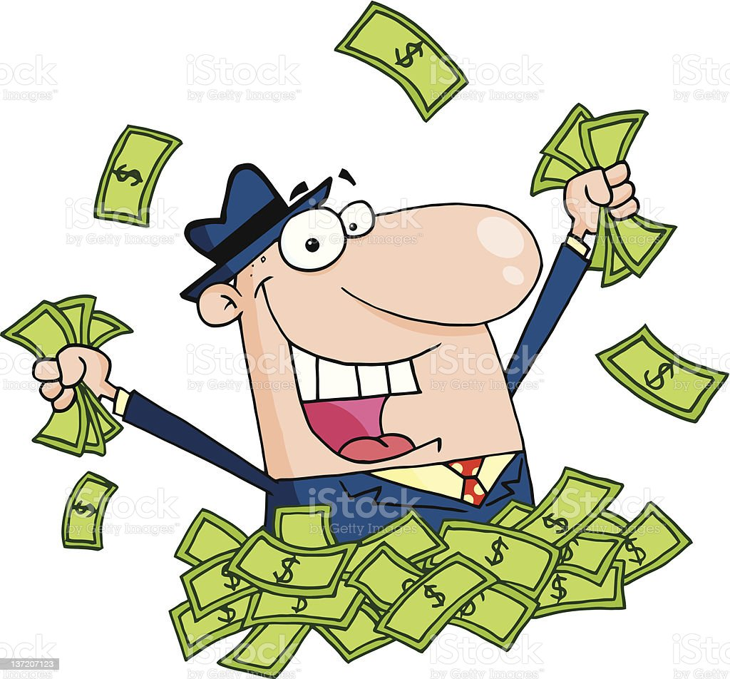 Happy Caucasian Businessman Playing In A Pile Of Money royalty-free stock vector art