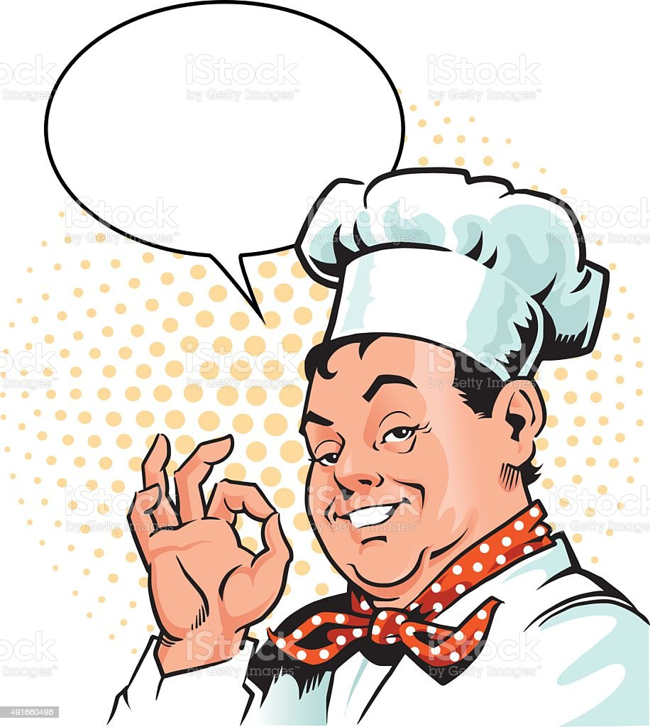 happy chef approving gesture with speech bubble stock