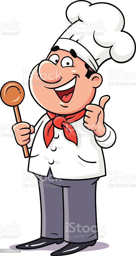 Happy Chef Gesturing Thumbs up vector art illustration
