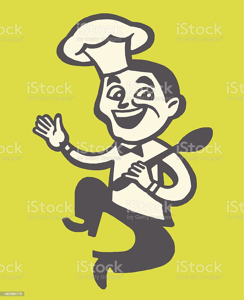 Happy Chef Jumping royalty-free stock vector art