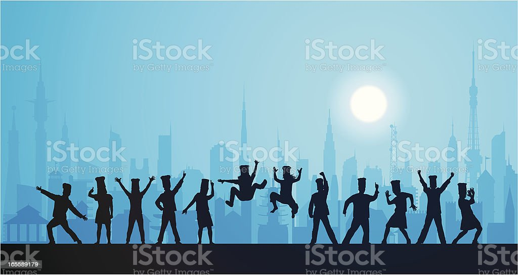 Happy Chefs in the City royalty-free stock vector art