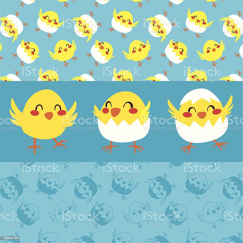 Happy Chicks Dancing royalty-free stock vector art