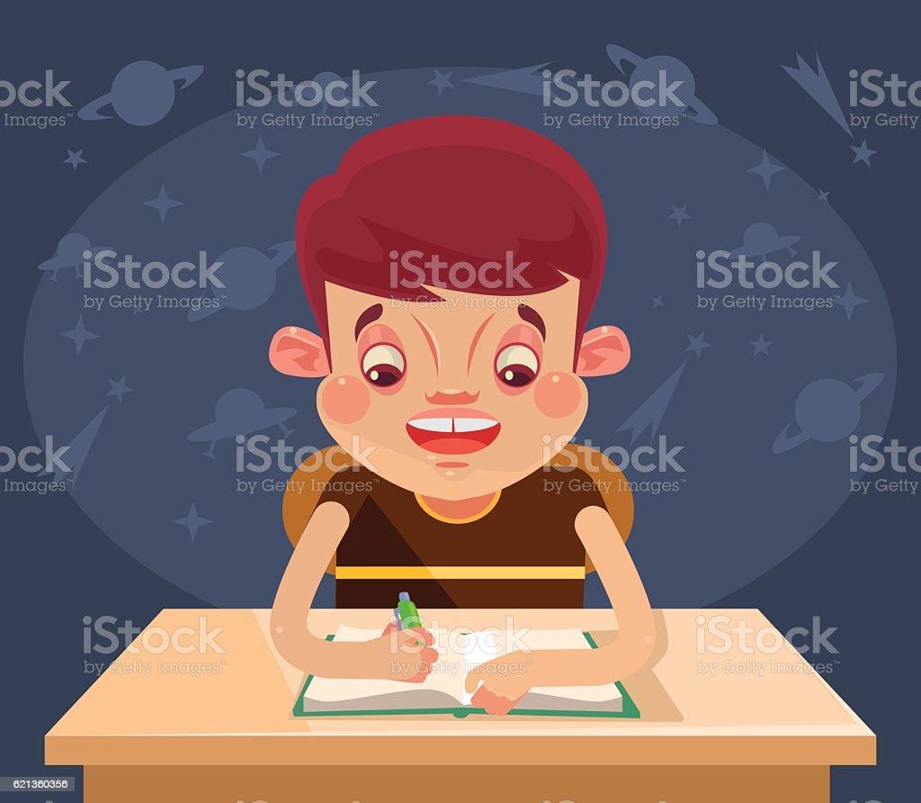 Happy child character doing homework. Vector flat cartoon illustration vector art illustration