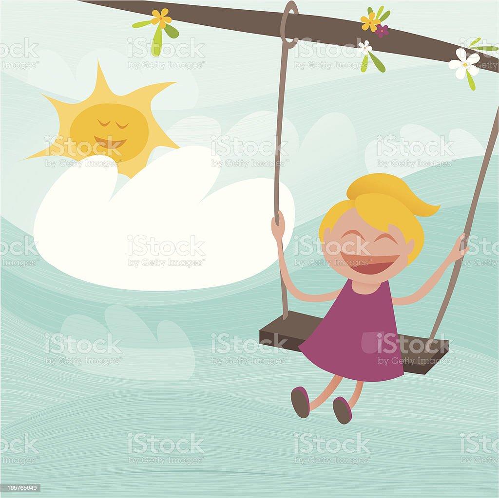 Happy Child Going On The Swing vector art illustration