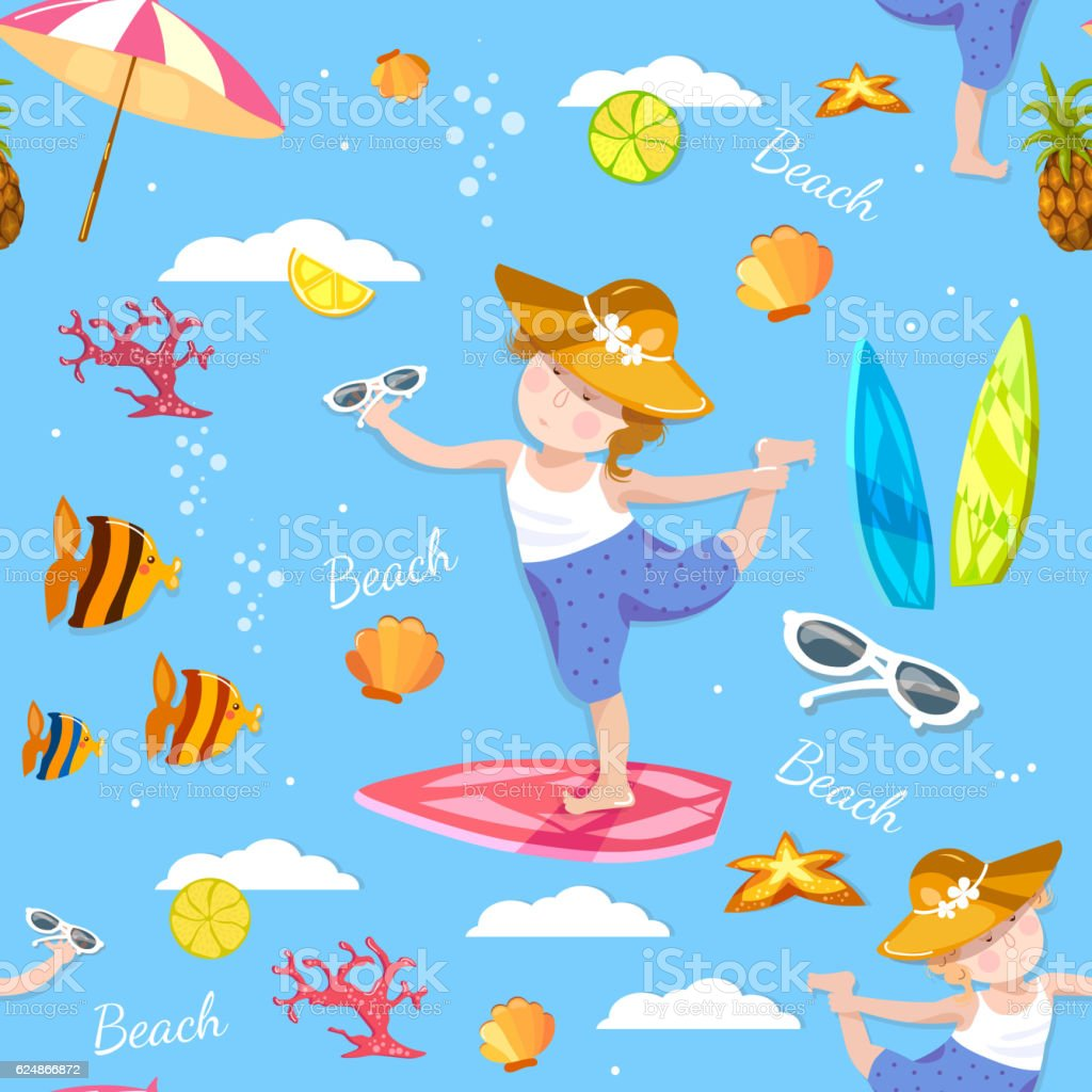 Happy child on sea. Happy child playing on beach vector art illustration