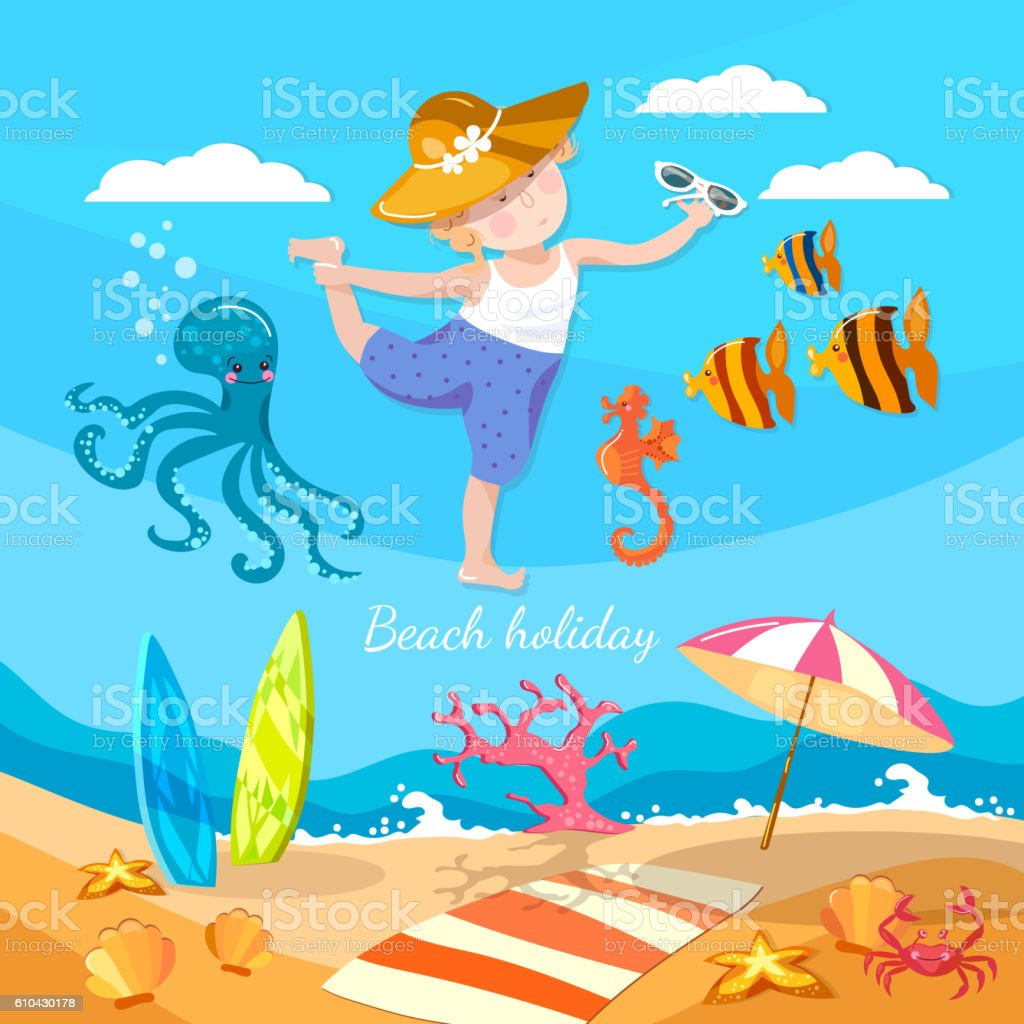 Happy child playing on the beach summer holiday vector art illustration