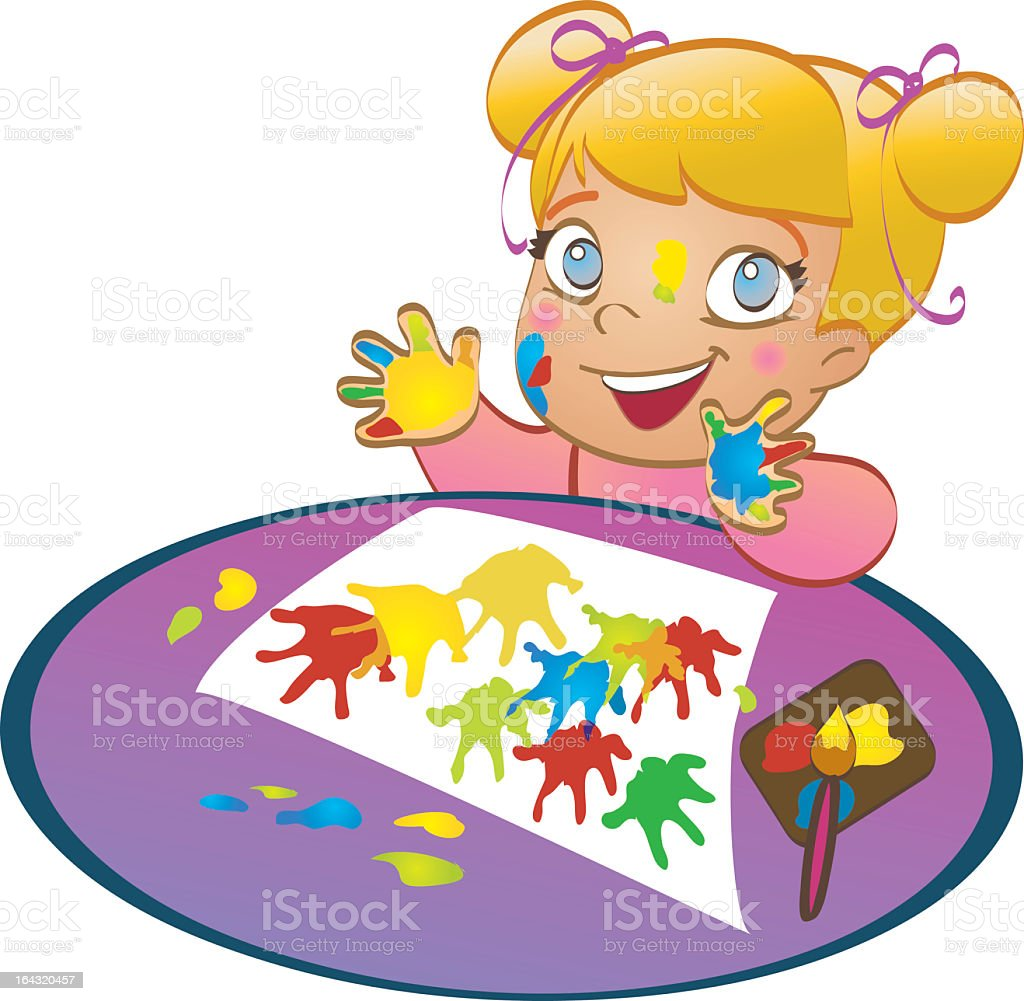 Happy child with painted hands royalty-free stock vector art