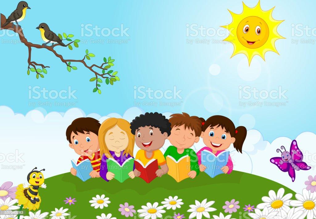 Happy children cartoon sitting on the grass while reading books vector art illustration