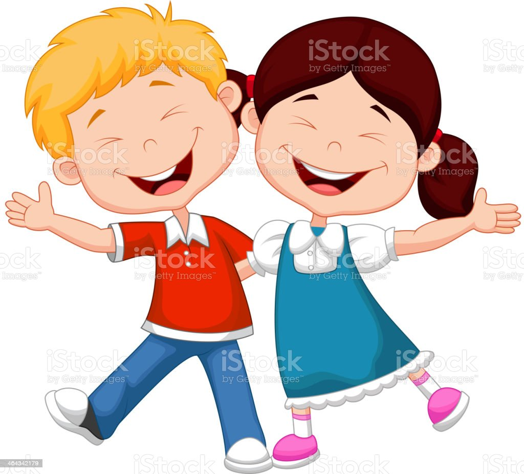Happy children cartoon royalty-free stock vector art