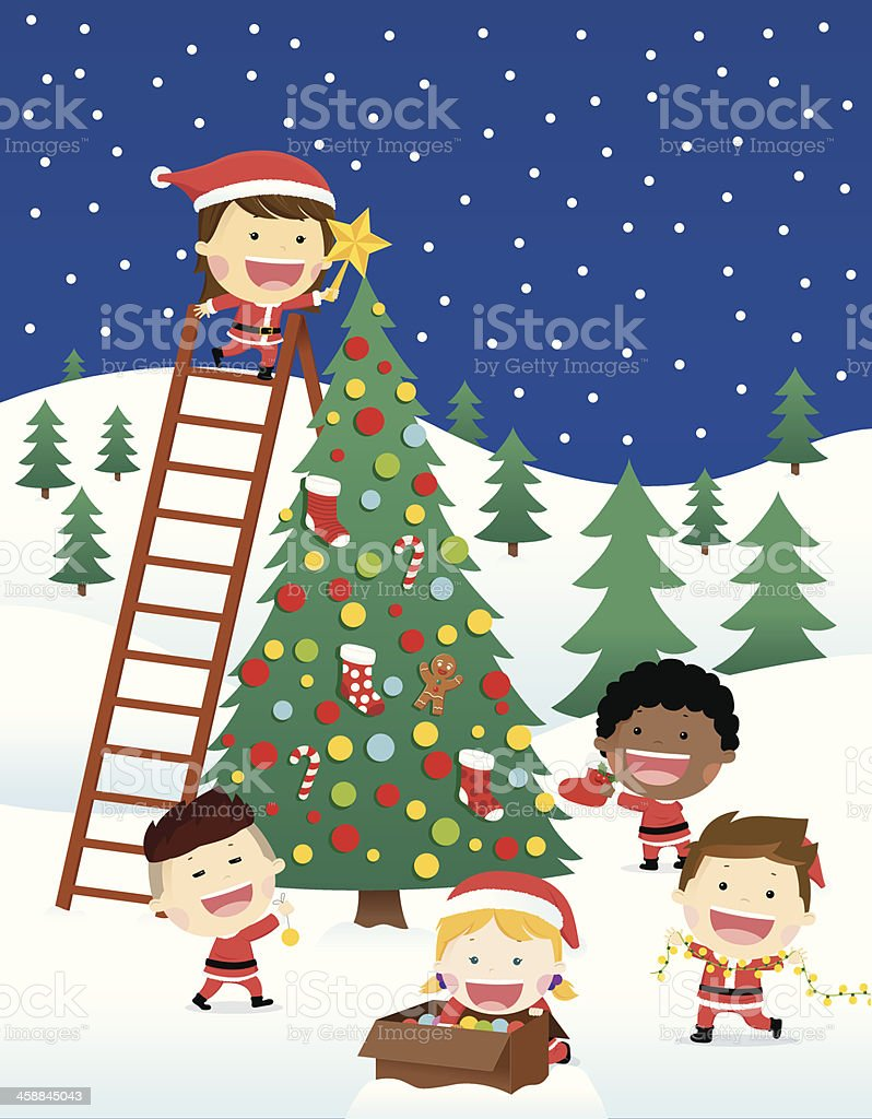 Happy Children Decorate Christmas Tree royalty-free stock vector art
