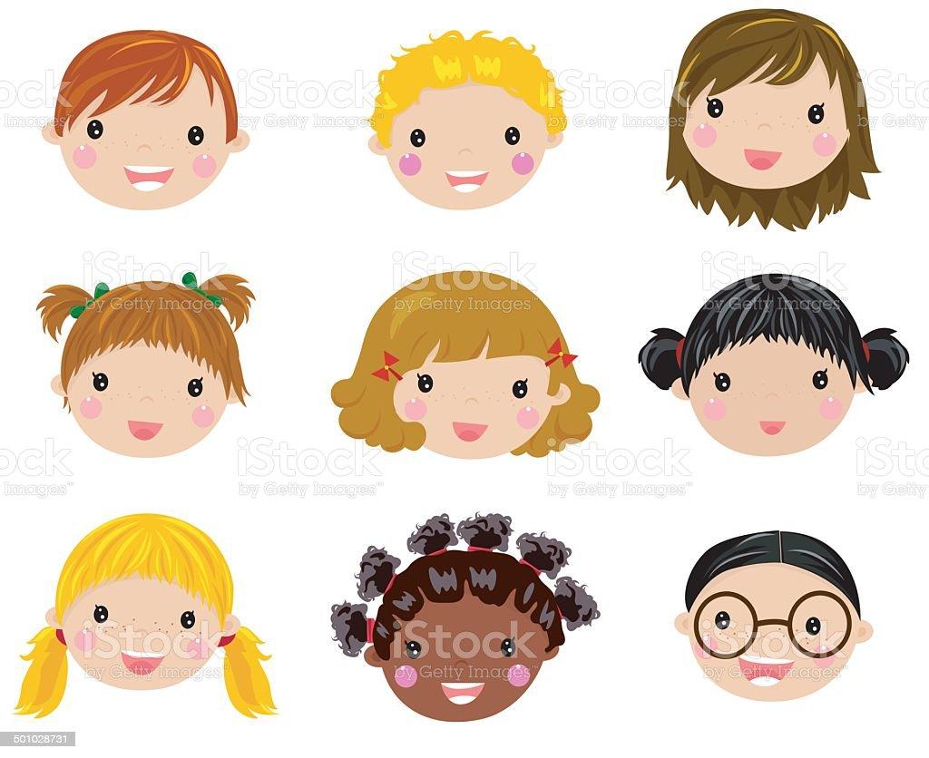 Happy Children Face Set Stock Vector Art 501028731