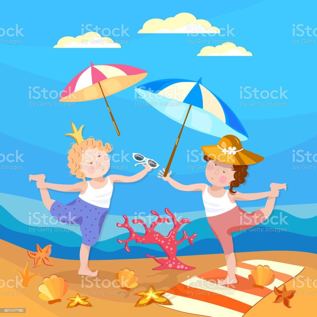 Happy children, girl and boy playing on the beach vector art illustration