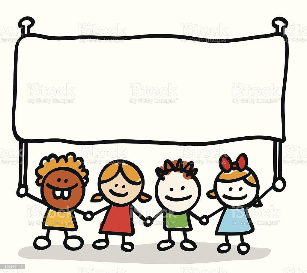 happy children group holding hand and blank banner cartoon illustration royalty-free stock vector art