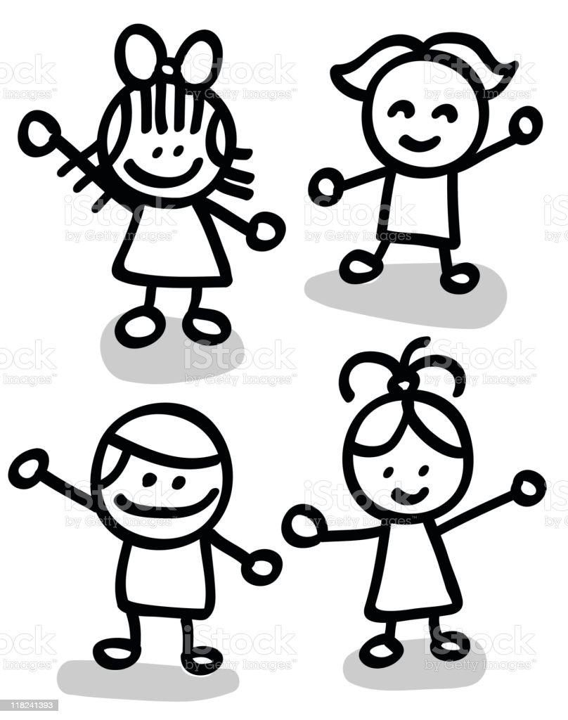 happy children group holding hand cartoon illustration royalty-free stock vector art