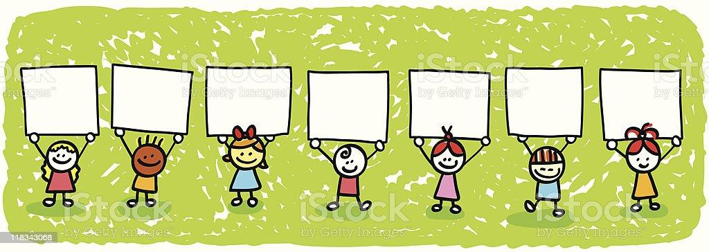 happy children holding blank banners cartoon illustration royalty-free stock vector art