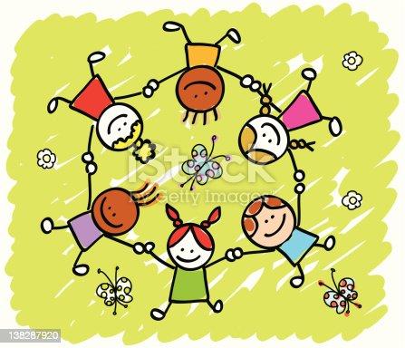 happy children holding hands playing outside springsummer nature cartoon stock vector art 138287920 istock - Spring Pictures For Children