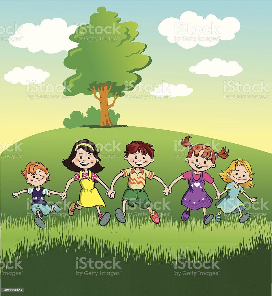 Happy Children in Nature royalty-free stock vector art
