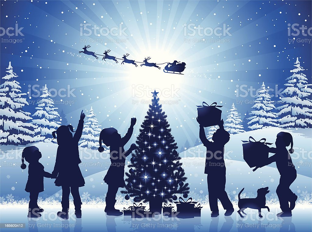 Happy Children in the Christmas Night royalty-free stock vector art