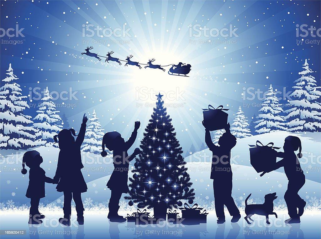 Happy Children in the Christmas Night vector art illustration