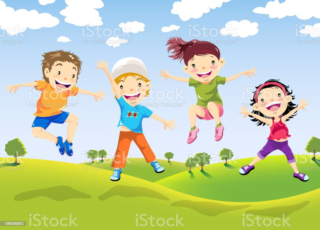 Happy Children Jumping on Farm vector art illustration