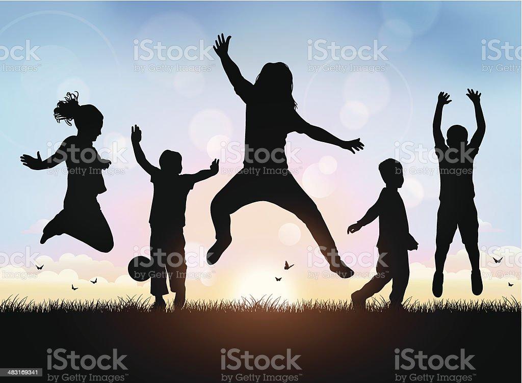 Happy Children Jumping vector art illustration