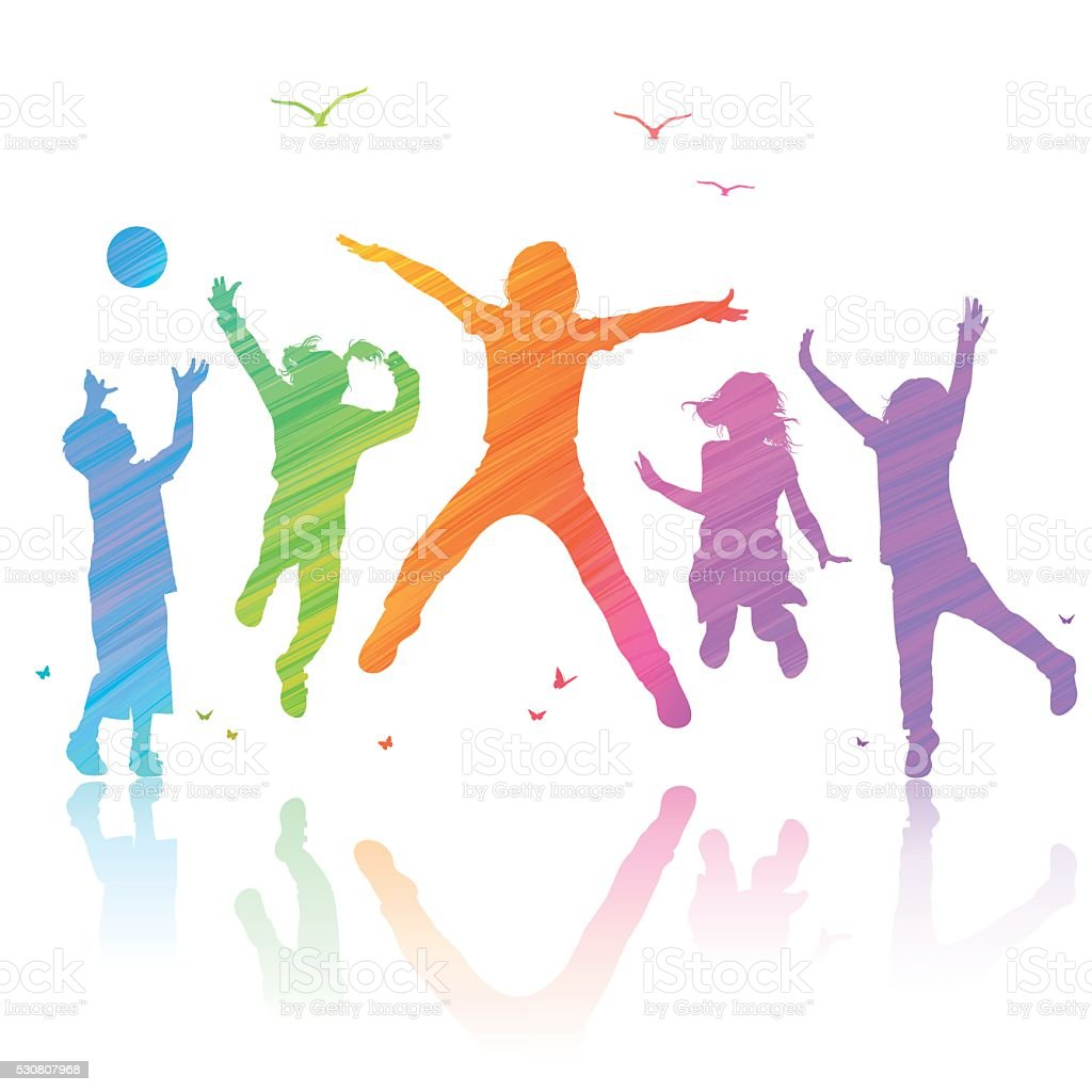Happy Children Jumping vector art illustration