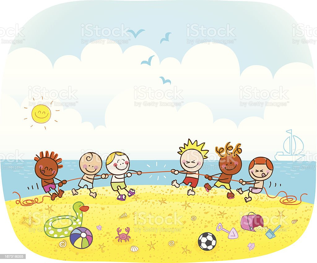happy children playing at beach cartoon illustration vector art illustration