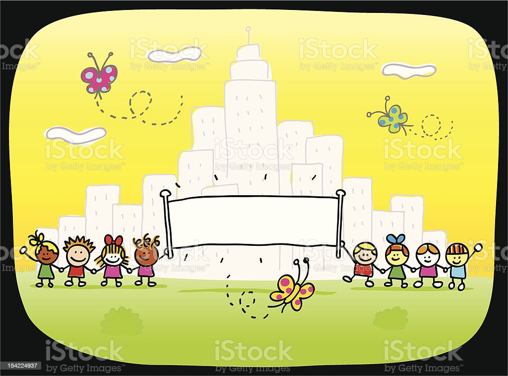 happy children playing outside nature and cityview with banner cartoon royalty-free stock vector art