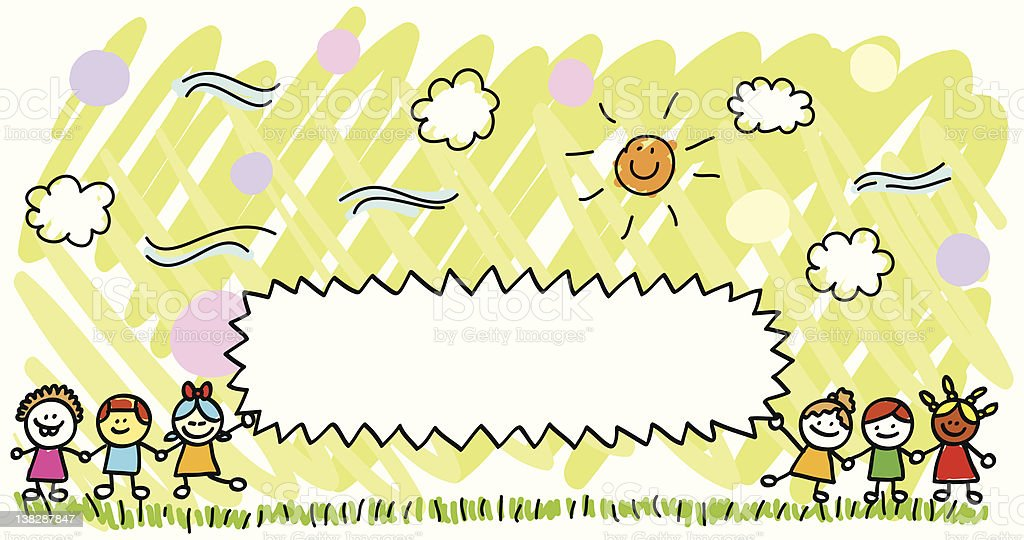 happy children playing outside nature with banner cartoon royalty-free stock vector art