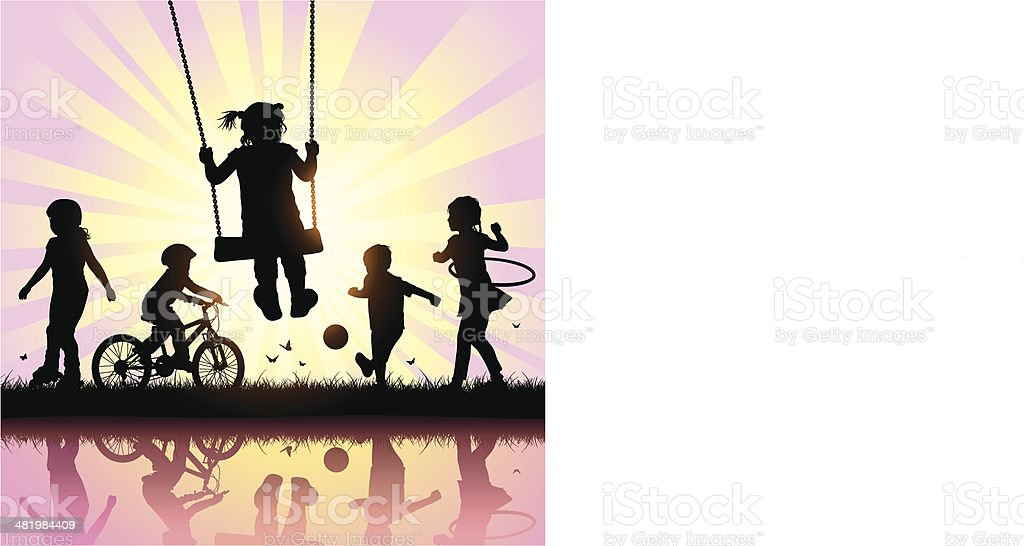 Happy Children Playing vector art illustration