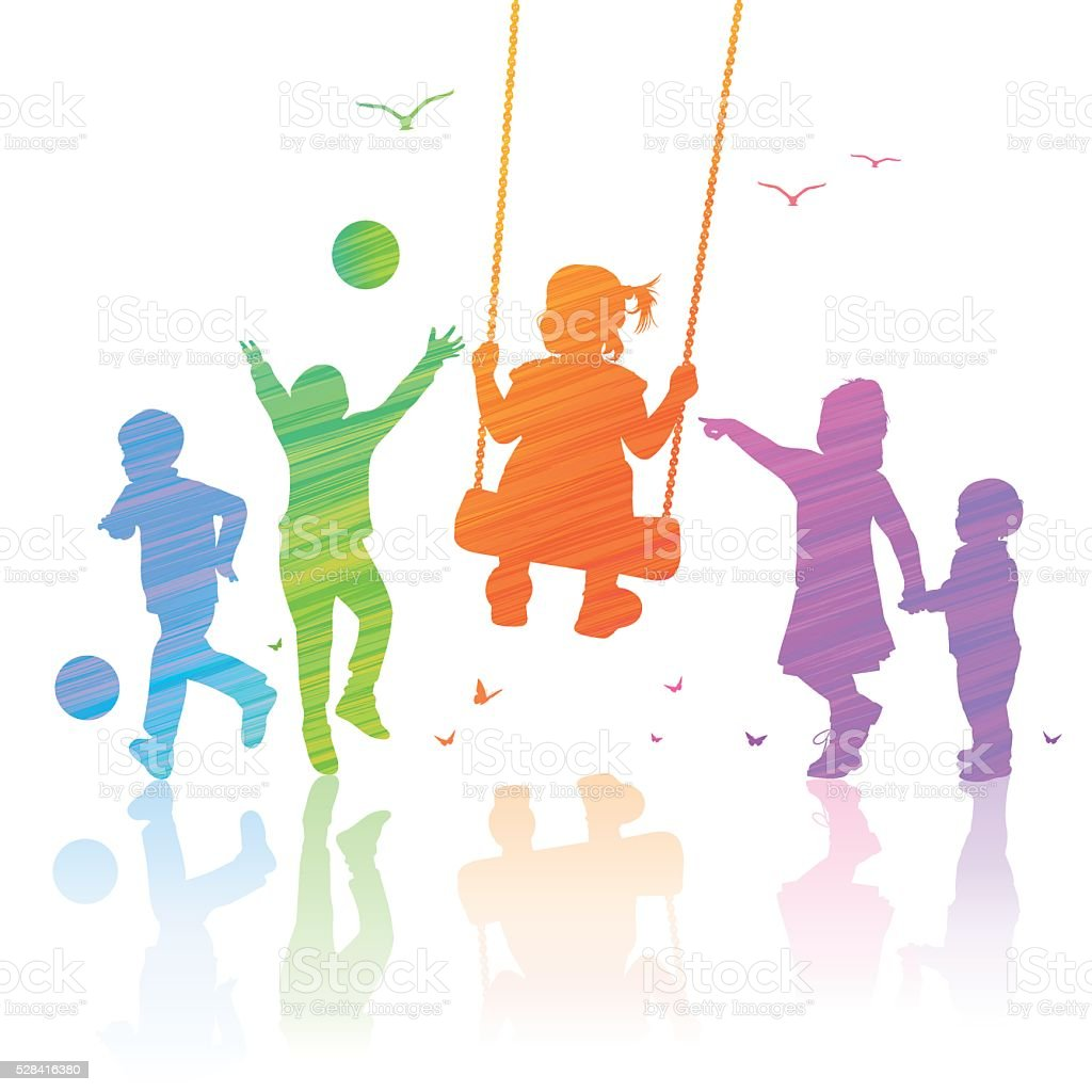 Happy Children Playing vector art illustration