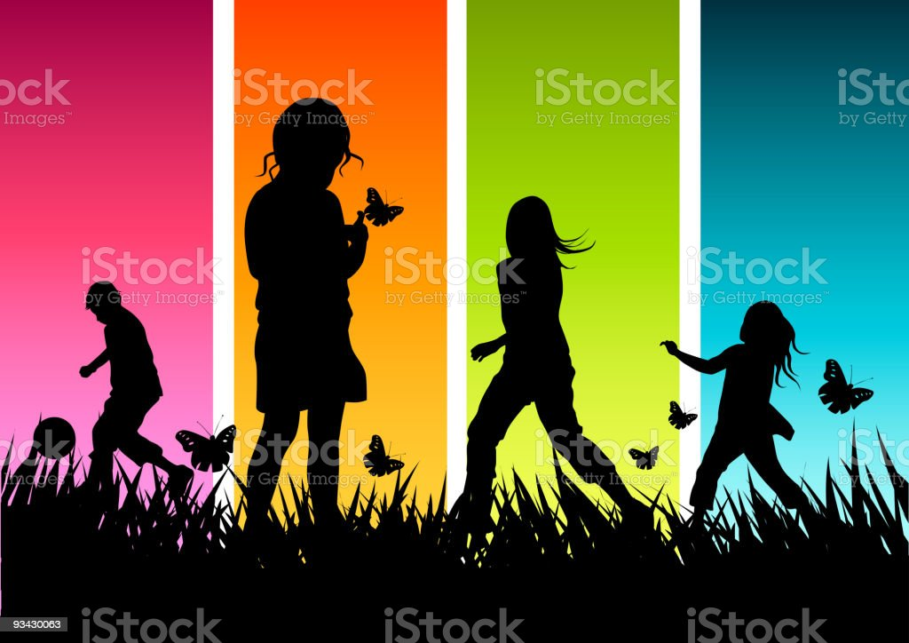 Happy Children Playing royalty-free stock vector art